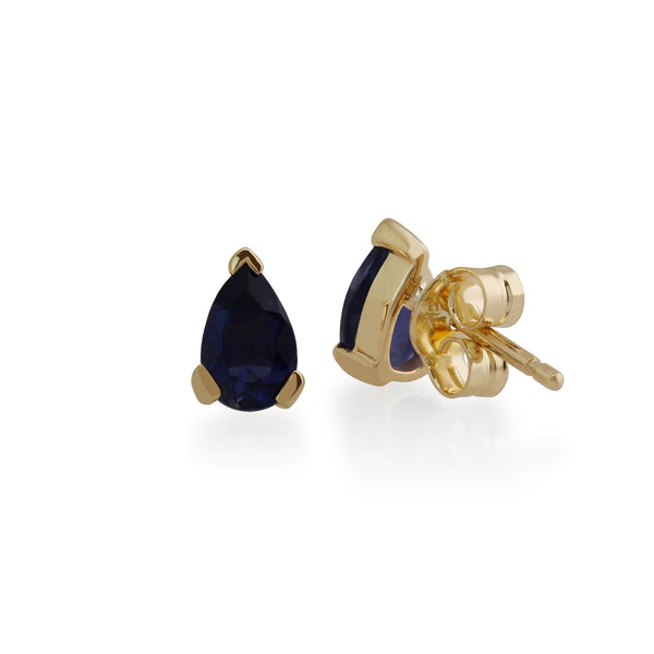 Classic Pear Iolite Claw Set Stud Earrings in 9ct Yellow Gold