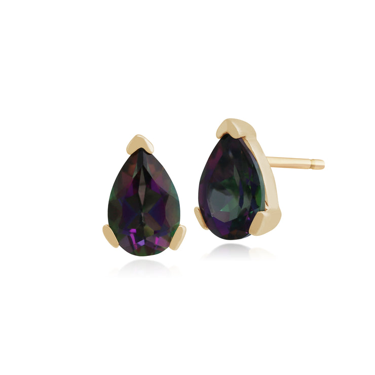 Classic Pear Mystic Topaz Claw Set Stud Earrings in 9ct Yellow Gold
