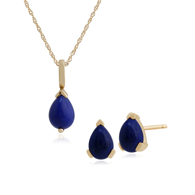 Classic Pear Lapis Lazuli Single Stone Stud Earrings & Pendant Set in 9ct Yellow Gold