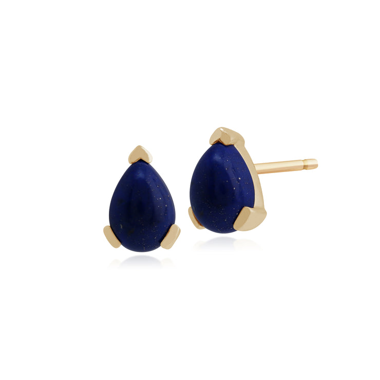 Classic Pear Lapis Lazuli Claw Set Stud Earrings in 9ct Yellow Gold