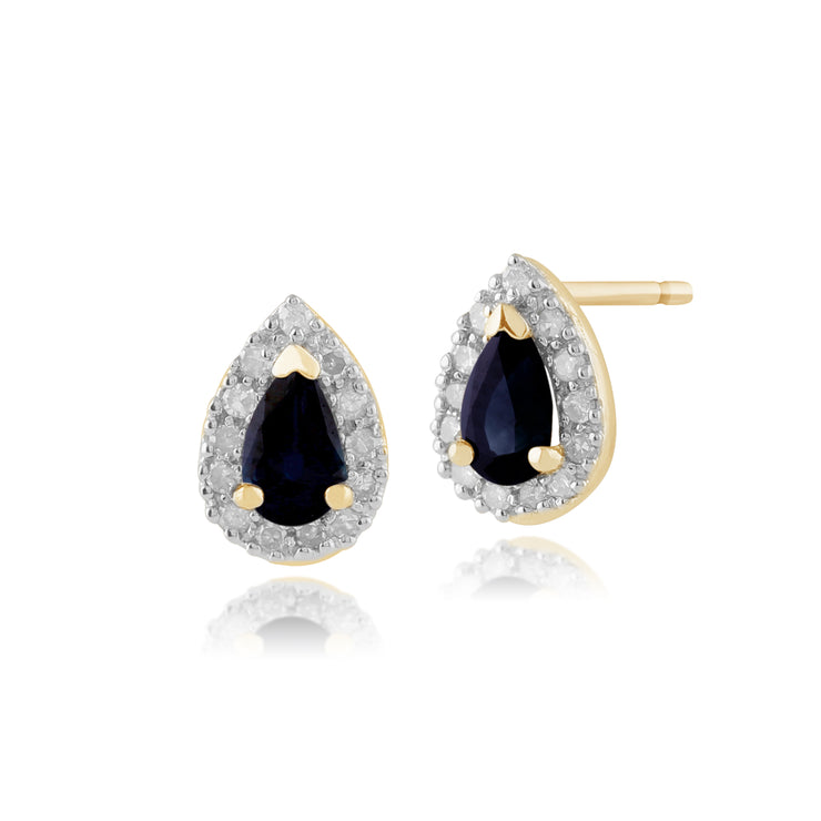 Classic Pear Sapphire & Diamond Cluster Stud Earrings in 9ct Yellow Gold