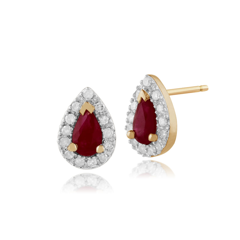 Classic Pear Ruby & Diamond Cluster Stud Earrings in 9ct Yellow Gold