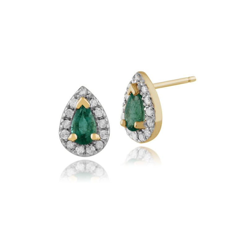 Classic Pear Emerald & Diamond Cluster Stud Earrings in 9ct Yellow Gold
