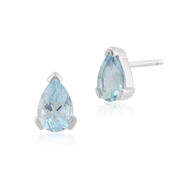 Classic Pear Aquamarine Stud Earrings in 9ct White Gold 6.5x4mm