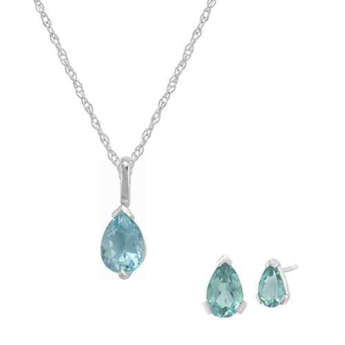 Classic Blue Stud Earrings & Pendant Set Image 1