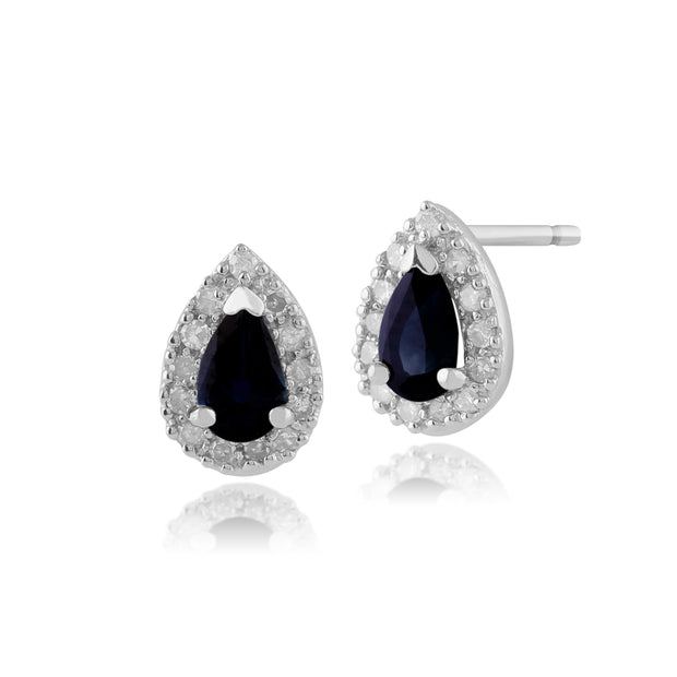 Classic Pear Sapphire & Diamond Cluster Stud Earrings in 9ct White Gold