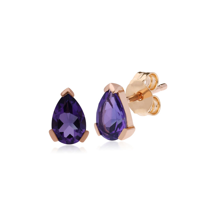 Gemondo 9ct Rose Gold 3 Claw Amethyst Classic Pear Stud Earrings