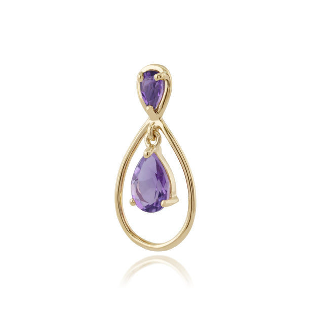 Classic Pear & Round Amethyst Halo Frame Pendant in 9ct Yellow Gold