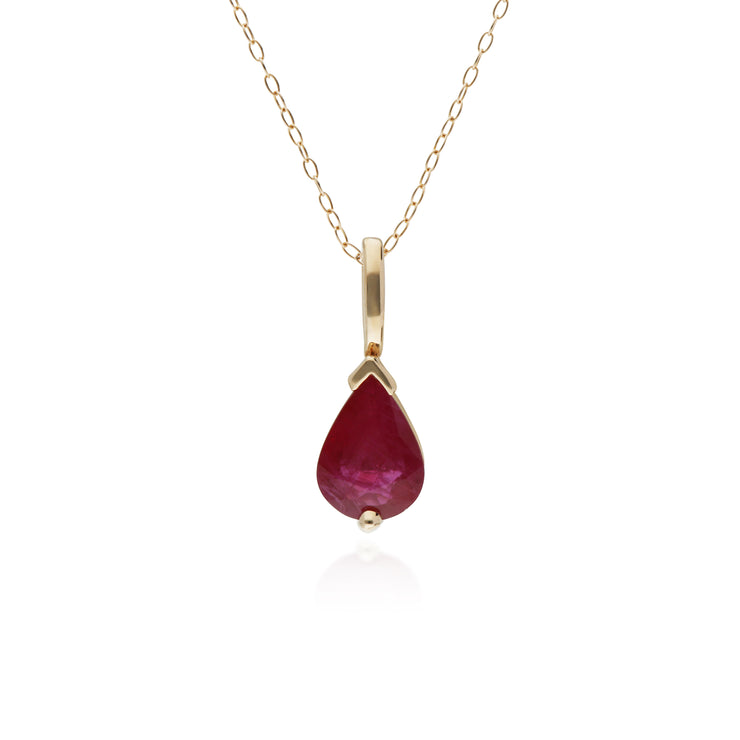 10ct Yellow Gold Ruby Single Stone Pear Pendant on 45cm Chain