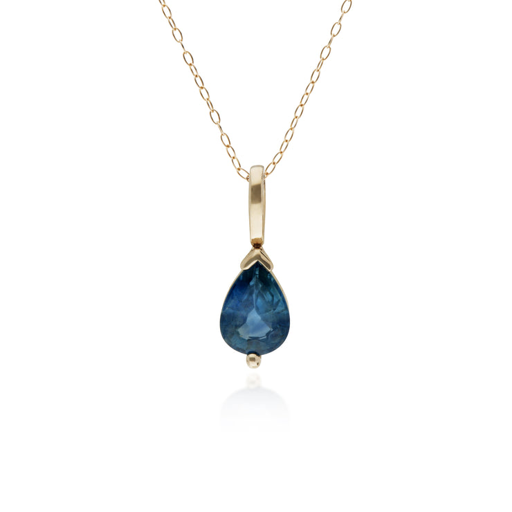 Sapphire Single Stone Pear Pendant Necklace