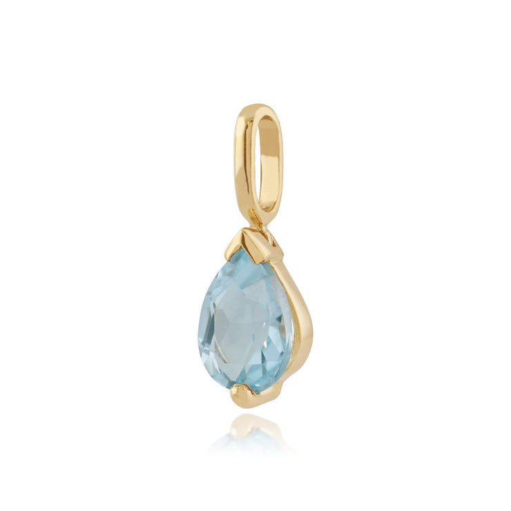 Classic Pear Blue Topaz Claw Set Single Stone Pendant in 9ct Yellow Gold
