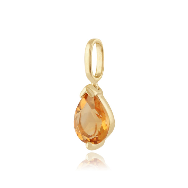 Classic Pear Citrine Pendant in 9ct Yellow Gold