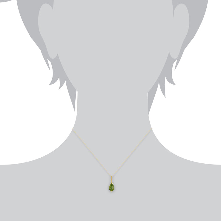 Classic Pear Peridot Pendant in 9ct Yellow Gold