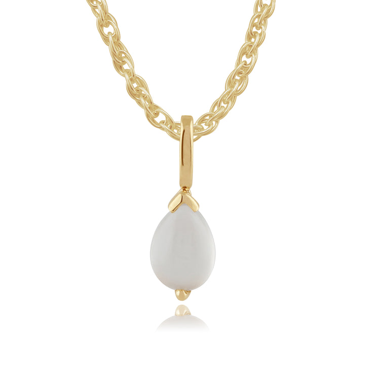 Classic Pear Moonstone Pendant in 9ct Yellow Gold