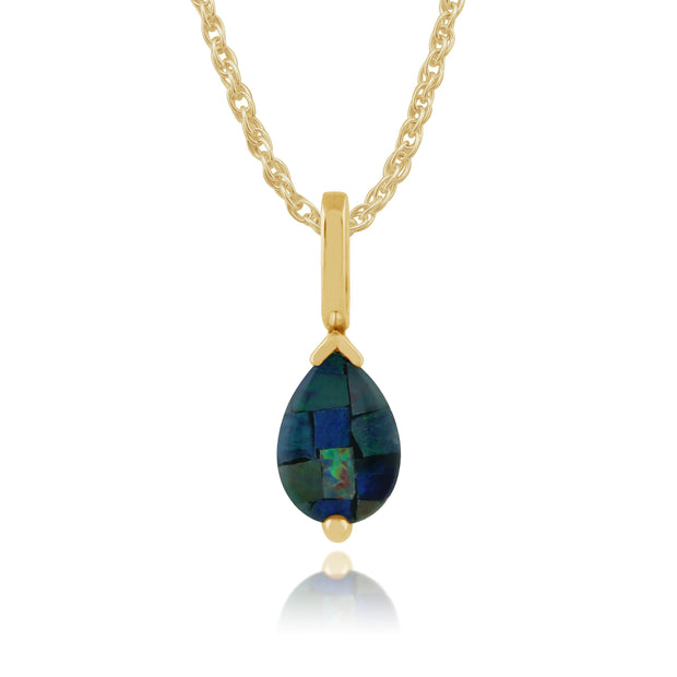Classic Pear Opal Triplet Pendant in 9ct Yellow Gold