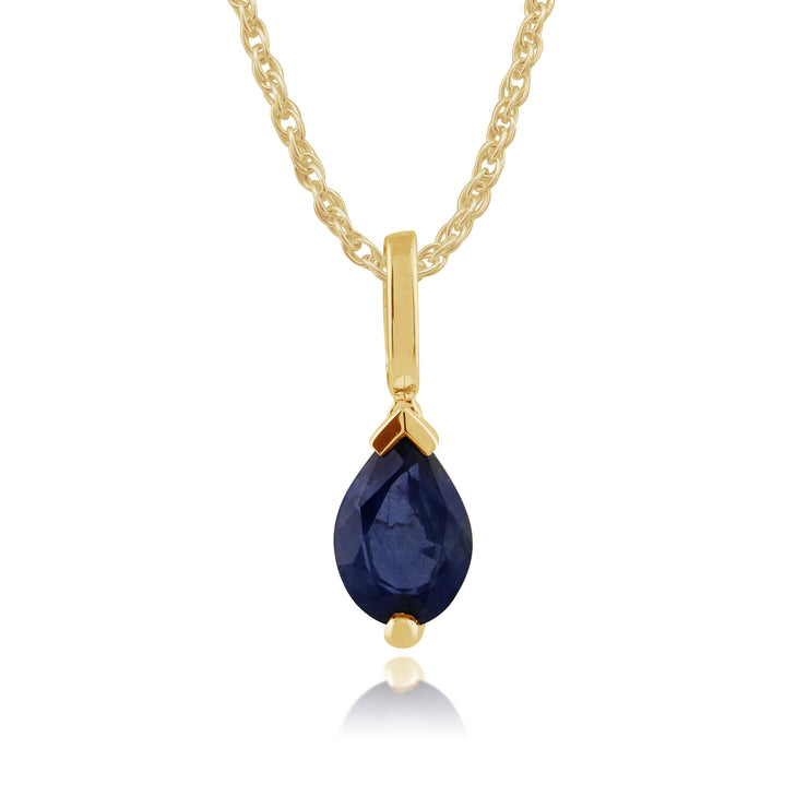 Classic Pear Light Blue Sapphire Pendant in 9ct Yellow Gold