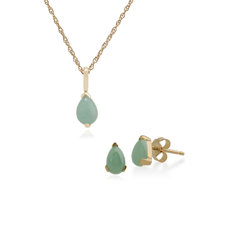 Classic Pear Jade Single Stone Stud Earrings & Pendant Set in 9ct Yellow Gold