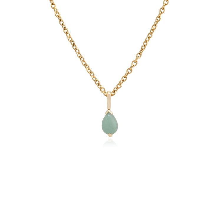 Classic Pear Green Jade Claw Set Single Stone Pendant in 9ct Yellow Gold