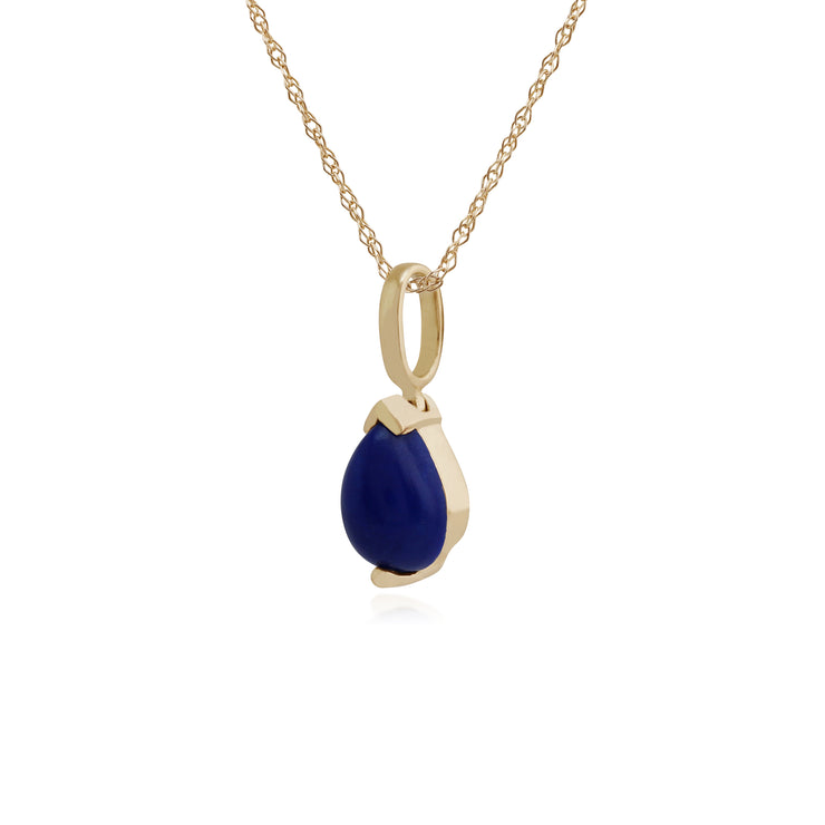 Classic Pear Lapis Lazuli Claw Set Pendant in 9ct Yellow Gold