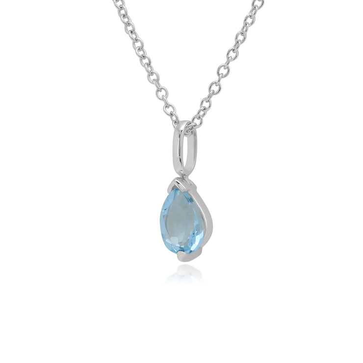 Classic Pear Blue Topaz Pendant in 9ct White Gold