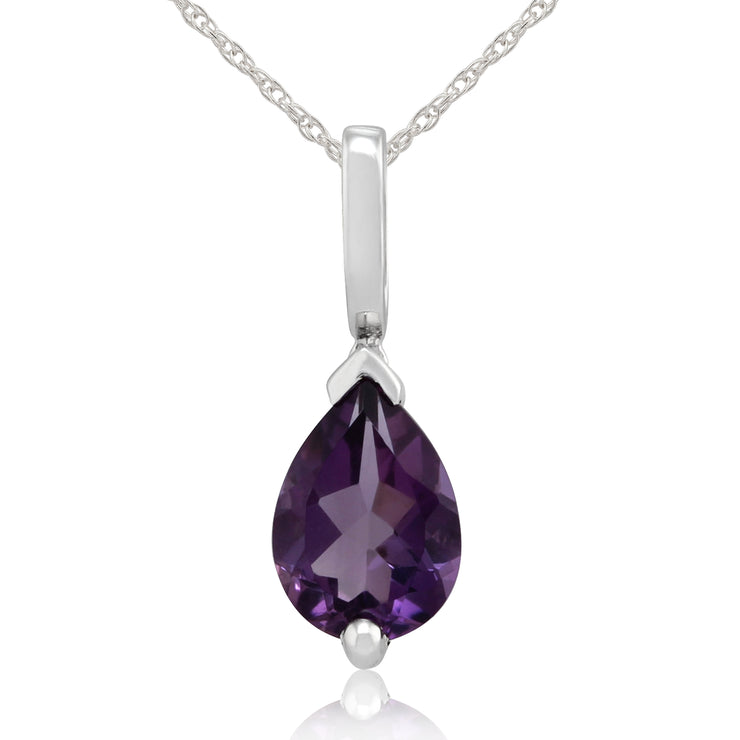 Classic Pear Amethyst Pendant in 9ct White Gold