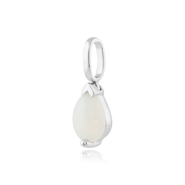 Classic Pear Opal Pendant in 9ct White Gold