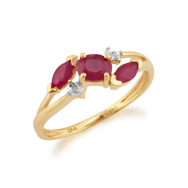 Contemporary Marquise Ruby & Diamond Three Stone Ring in 9ct Yellow Gold