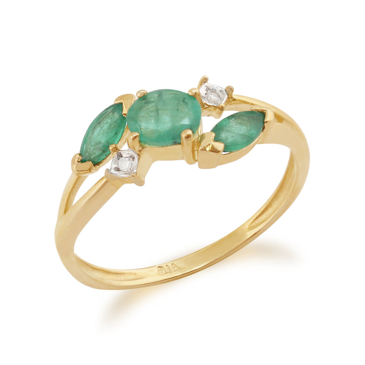Marquise Emerald & Diamond Three Stone Ring in 9ct Yellow Gold