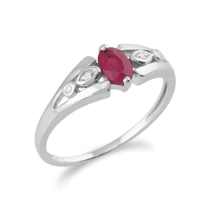 Classic Oval Ruby & Diamond Ring in 9ct White Gold