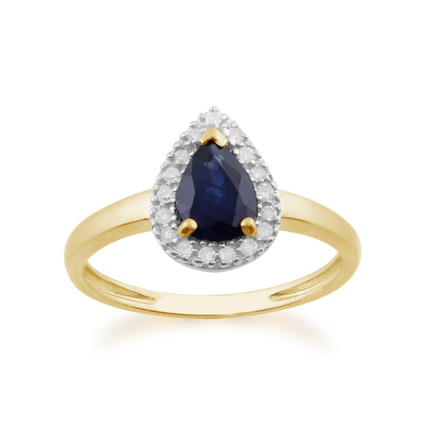 Classic Pear Shaped Sapphire & Diamond Ring in Yellow 9ct Gold