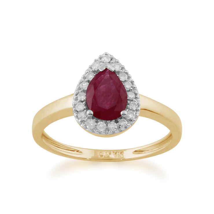 Classic Pear Shaped Ruby & Diamond Ring in 9ct Yellow Gold
