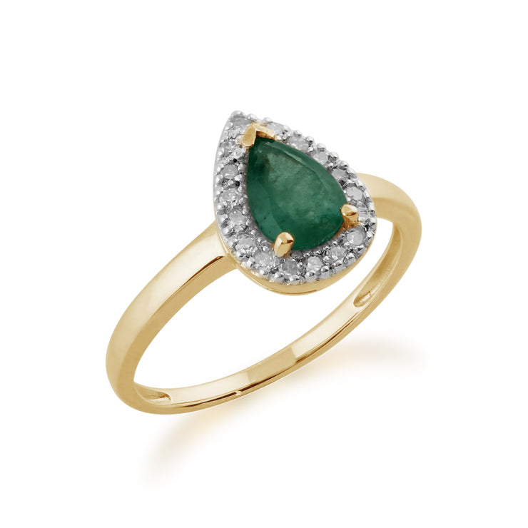 Classic 0.66ct Pear Emerald & Diamond Ring in 9ct Yellow Gold