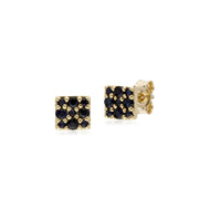 Classic Style Round Sapphire Cluster Stud Earrings in 9ct Yellow Gold