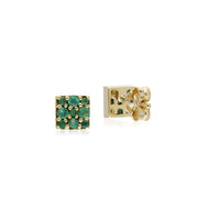 Classic Style Round Emerald Cluster Stud Earrings in 9ct Yellow Gold