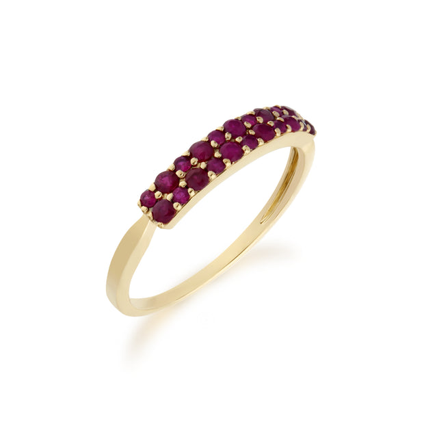 Contemporary 0.41ct Pavé Ruby Cluster Ring in 9ct Yellow Gold