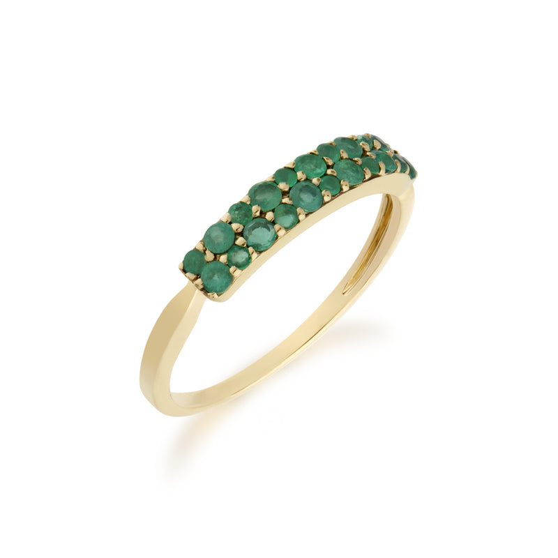 Contemporary 0.4ct Pavé Emerald Cluster Ring in 9ct Yellow Gold
