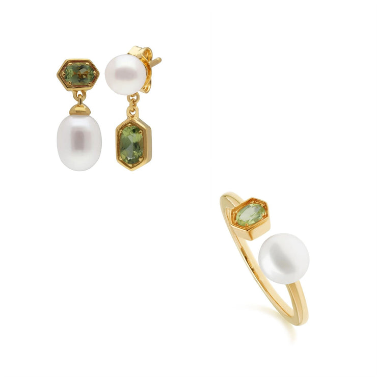 Modern Pearl & Peridot Earring & Ring Set in Gold Plated Sterling Silver