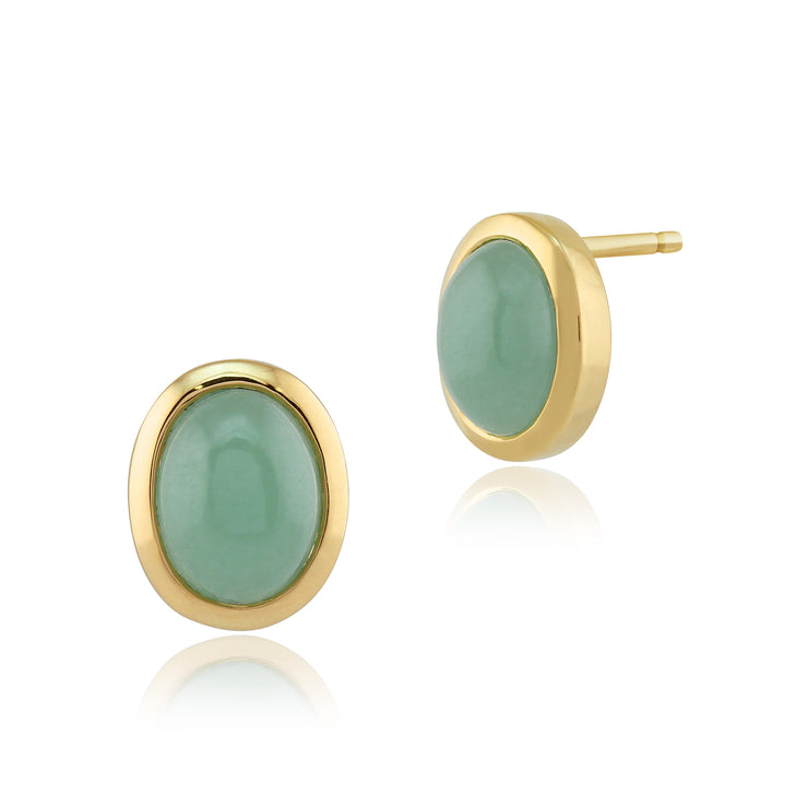 Classic Oval Jade Cabochon Stud Earrings in 9ct Yellow Gold 10x8mm