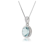 Classic Oval Aquamarine Pendant in 9ct White Gold