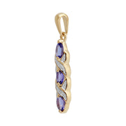 Art Nouveau Style Oval Tanzanite & Diamond Pendant in 9ct Yellow Gold