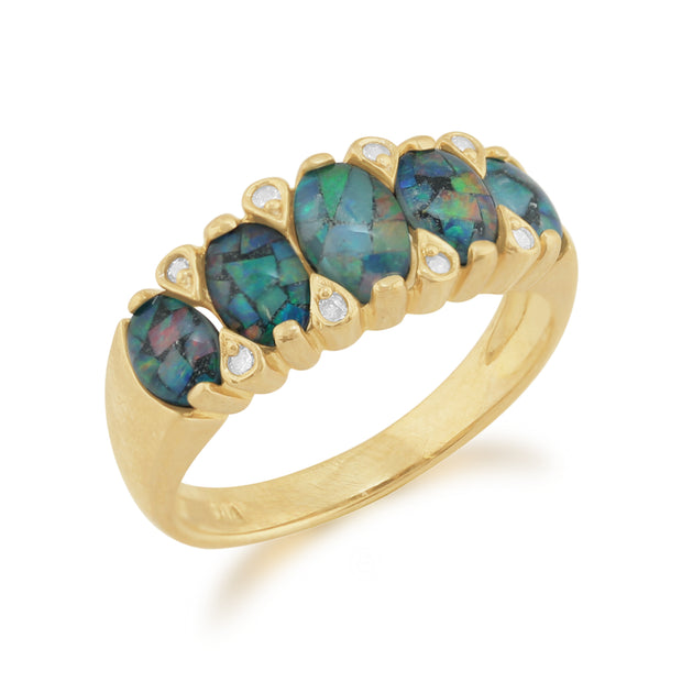 Classic Oval Triplet Opal & Diamond Five Stone Ring in 9ct Yellow Gold