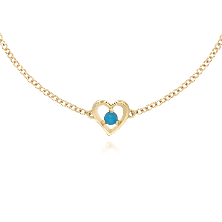 Classic Single Stone Round Turquoise Love Heart Bracelet in 9ct Yellow Gold