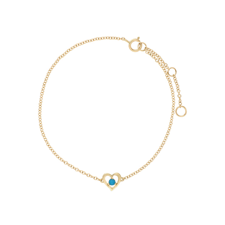 Gemondo 9ct Yellow Gold Turquoise Round Single Stone Heart 19cm Bracelet