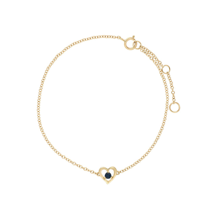 Classic Single Stone Round Sapphire Love Heart Bracelet in 9ct Yellow Gold