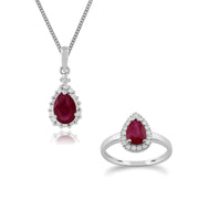 Classic Pear Ruby & Diamond Halo Pendant & Ring Set in 9ct Yellow Gold