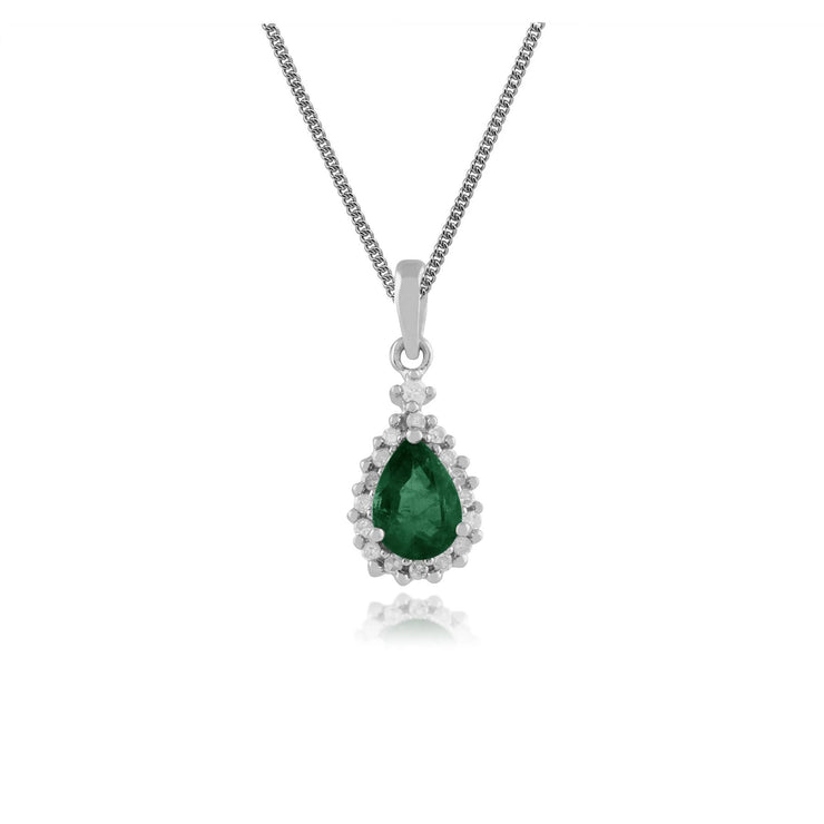 Classic Pear Emerald & Diamond Cluster Pendant in 9ct White Gold