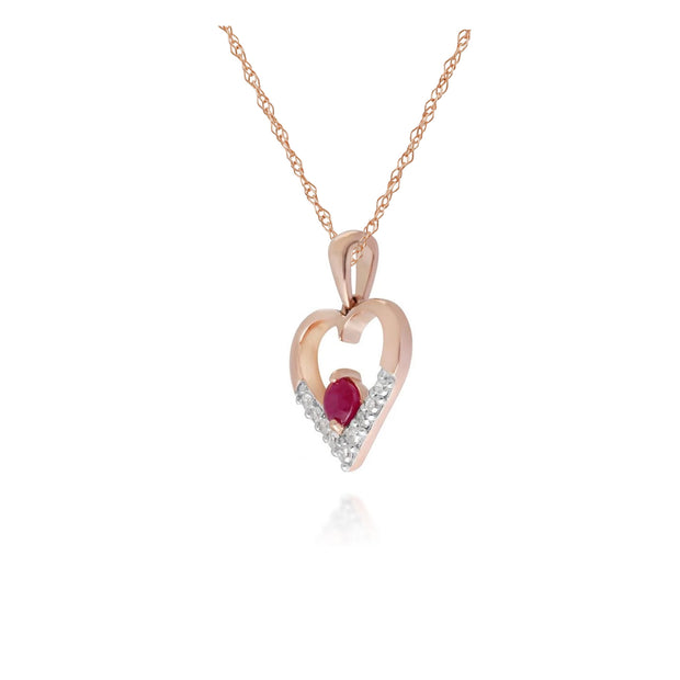 Classic Ruby & Diamond Love Heart Pendant in 9ct Yellow Gold