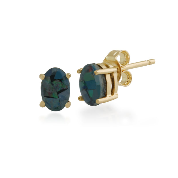 Classic Oval Triplet Opal Claw Set Stud Earrings in 9ct Yellow Gold