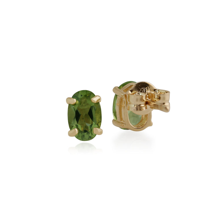 Classic Oval Peridot Stud Earrings in 9ct Yellow Gold 6x4mm