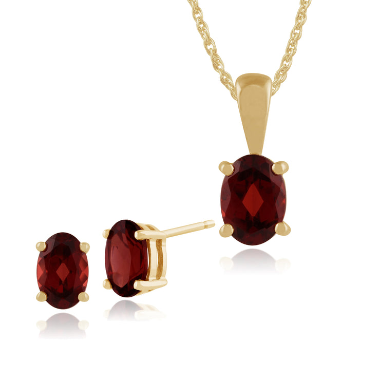 Classic Oval Garnet Stud Earrings & Pendant Set Image 1